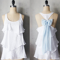 DAYLIGHT AURA - Romantic white flowy tier blouse // pastel light blue // chiffon sash bow // tunic // tank top // racerback