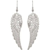 Amazon.com: Nickel Free 1 7/8&quot; Angel Wings Earrings In Silver Tone: Cora Hysinger: Clothing