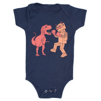 Dinosaur vs Robot Baby One Piece Bodysuit by GnomEnterprises