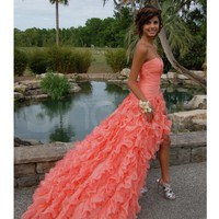 WowDresses — Stunning Orange Ball Gown Sweetheart High-low Asymmetrical Prom Dress