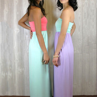 Strapless Color Block Maxi
