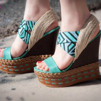 Bumper Lea-09 Geometric Print Open Toe Platform Wedge (Teal) - Shoes 4 U Las Vegas