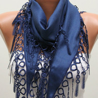 Navy  Blue Scarf  Pashmina  Scarf   Headband Necklace by fatwoman