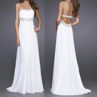FancyGirl — Elegant White Strapless Party Prom Evening Gown Long Dress