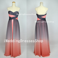 A Line Strapless  Sweetheart Long Chiffon Prom Dresses Party Dresses, Homecoming Dresses, Evening Dresses, Wedding Party Dresses