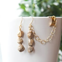 Jasper Ear cuff earrings with chain  beautiful by AtelierYumi