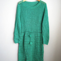 Green Grace - Vintage 70s Green Drawstring Crochet Knit Summer Boho Dress