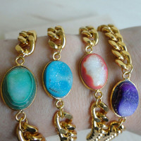 Gold Chain With Druzy Bracelet