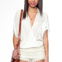 Lace Crochet Shorts in Ivory :: tobi