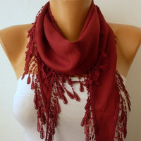 Burgundy  Scarf   Pashmina  Scarf  Headband Necklace by fatwoman-231