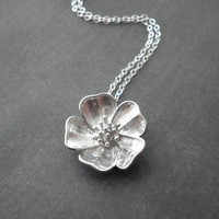 Prairie Rose Necklace   Sterling Silver by ElementOfNature on Etsy