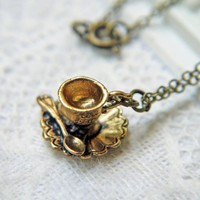 Antique Gold Teacup Necklace. Romantic. Nostalgic Look