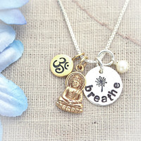 Hand Stamped Yoga Breathe Ohm Buddha Necklace by TracyTayanDesigns
