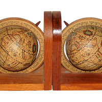 One Kings Lane - Faraway Places - Wood Globe Bookends