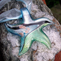 Glass Starfish Pendant - Murano Style -  Special Offer