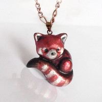 Red panda polymer clay brooch or pendant