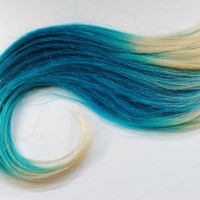 Aquatic Desire  - Human Hair Extensions / Blonde Turquoise Blue / Long Tie Dye Colored Hair