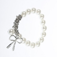 Gift Fashion Hand Chain Cute Charming Imitation Pearl Bowknot Bangle Bracelet