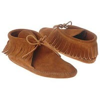Women's Minnetonka Moccasin  Classic Fringed Boot Brown Suede Shoes.com