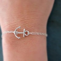Silver Anchor Bracelet Sterling Silver chain Bridesmaid Jewelry Girl Friend Gift nautical jewelry Navy Gift Cruise theme
