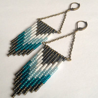 Beaded Fringe Earrings in Blue and Gray