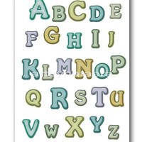 Baby Print Nursery alphabet decor Baby Room Decor Baby Boy Nursery Decor kids room Baby Boy Nursery art print 8&quot; x 10&quot; alphabet nursery blue