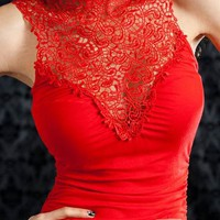 lace trim dress &amp;#36;26.50 in RED - Nightclub | GoJane.com