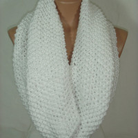 NEW-Knitted Hooded Cowl/Scarf/Neck Warmer (White) by Arzu's Style