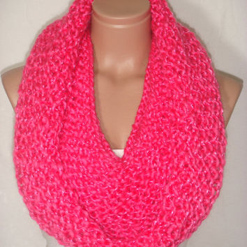 NEW - Knitted, Hooded Cowl, Scarf, Neck warmer,Loop Scarf (Fuchsia) by Arzu's Style