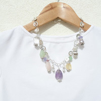 Multi Gemstone Statement Necklace, Amethyst Necklace, Valentines Day Necklace