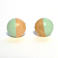 Mint green earrings, wood stud earrings, light green earrings, pastel earrings