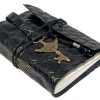 Embossed Black Leather Journal with Winged Clock Key Bookmark