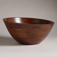 Angled Wood Salad Serving Bowl