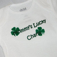 St. Patrick&#x27;s Day Baby Onesuit. Mommy&#x27;s Lucky Charm Shamrock Bodysuit. Can Be Customized By Size.