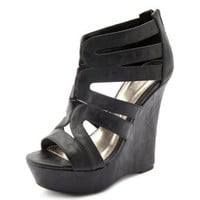 Caged Leatherette Wedge