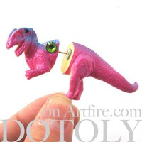 3D Fake Gauge T-Rex Dinosaur Animal Plug Stud Earring in Pink