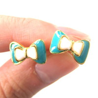 Small Bow Tie Ribbon Stud Earrings in Turquoise White and Gold from Dotoly Plus