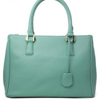 Mint Top Handle Faux Leather Bag with Gold Hardware
