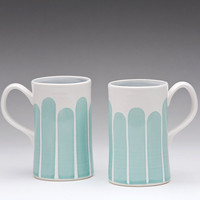 Turquoise Tall Striped Mug