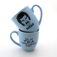Lionel Richie Hello is it tea you're looking for mug in solid blue stoneware