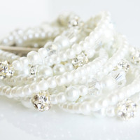 wedding white glass pearl cuff chunky bracelet swarovski rhinestone bracelet crystal bracelet wedding bridal jewelry bridesmaids bracelet