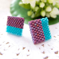 Purple Teal Beaded Color Block Geometric Square Ear Studs by JeannieRichard
