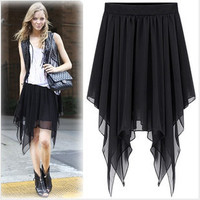 ASYMMETRICAL CHIFFON LONG DRESS IRREGULAR HEM $14.62