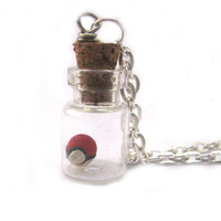 Pokeball necklace pokemon in a bottle charm by Mandyscharms