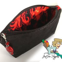 Black Vegan Leather Makeup Bag with Red Flames Lining and Beaded Pull (FREE US Shipping)