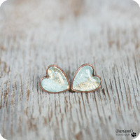 Stud earrinngs - Mint and Gold Hearts