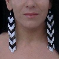Extra Long Earrings. Chevron Earrings. Dangle Black and White Earrings.  Beadwork