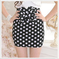 Black polka dot skirt with bow