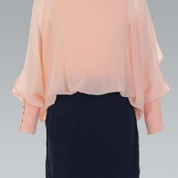 Peach Batwing Split Sleeve Chiffon Dress