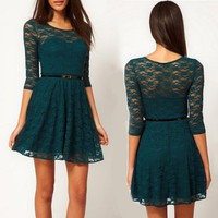 Atrovirens Lace Bodycon Round Neck Dress